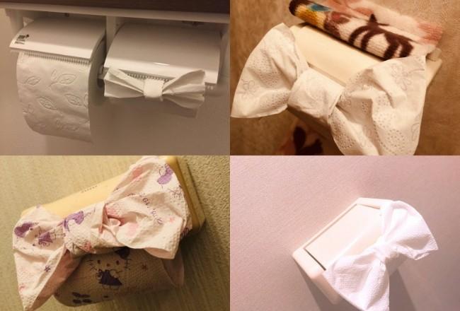 """日本兴起""""厕纸蝴蝶结""""热潮 结果被骂脏(图)"""