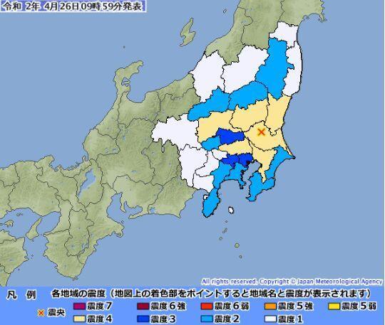 日本东京附近发生里氏4.8级地震 多地震感强烈